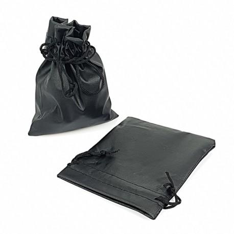 Lot de 10 bourses cadeaux aspect simili cuir noir 12x15cm - 7666
