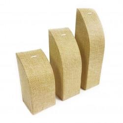 3 présentoirs rectangulaires en toile de jute pour chaîne et pendentif - 7685