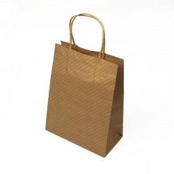 12 sacs papier kraft à rayures blanches 21x10.5x27cm - 7677