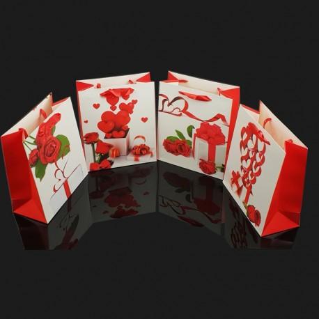 Lot de 12 sacs cadeaux motifs Saint-Valentin couleur rouge et blanc 26.5x10x33cm - 7660