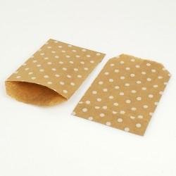 100 pochettes en papier kraft brun naturel motifs pois blancs - 8084