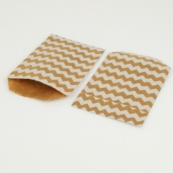 100 pochettes en papier kraft brun naturel motifs zig zag blancs - 8086