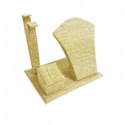 Petit présentoir en toile de jute beige pour parure complète - 7690