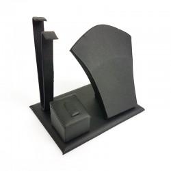 Petit présentoir en simili cuir noir pour parure complète - 7692