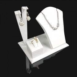 Petit présentoir en simili cuir blanc pour parure complète - 7691