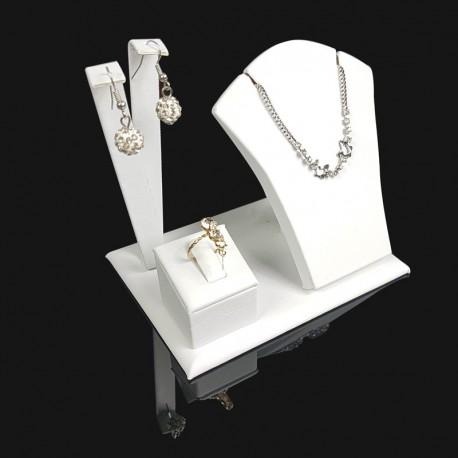 Petit présentoir en simili cuir blanc pour parure complète - 7692
