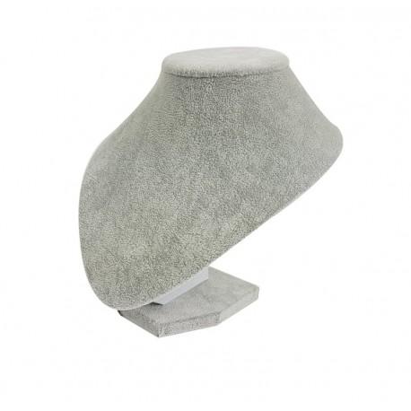 Buste bijoux arrondi en velours gris 18cm - 7688