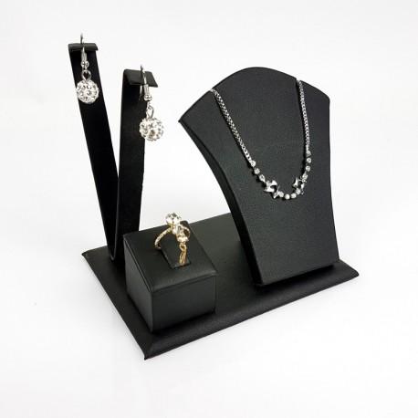 Petit présentoir en simili cuir noir pour parure complète - 7691