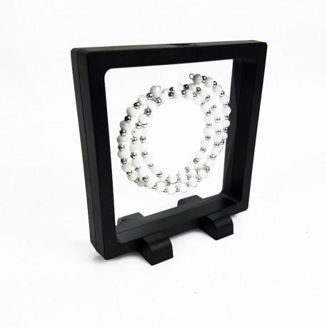 Présentoir à bijoux effet flottant de couleur noire 11x11cm - 7709