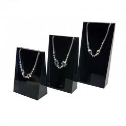 Lot de 3 supports en acrylique noir pour colliers et chaînes - 7698