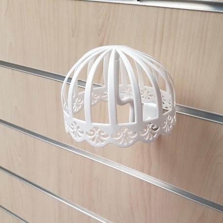 Présentoir chapeau individuel blanc pour panneau rainuré - 7700