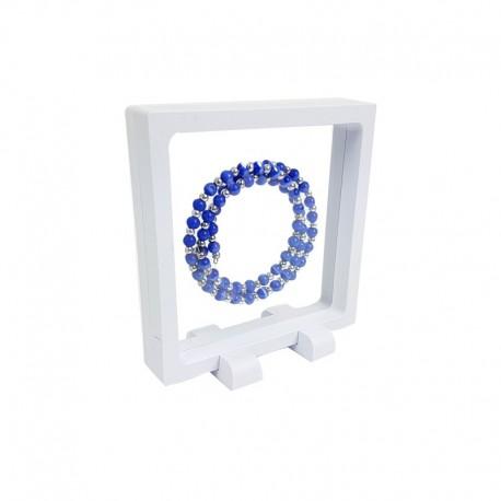 Présentoir à bijoux effet flottant de couleur blanche 11x11cm - 7708