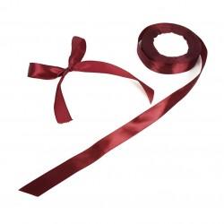 Bobine de ruban satiné en tissu de couleur rouge bordeaux - 7715