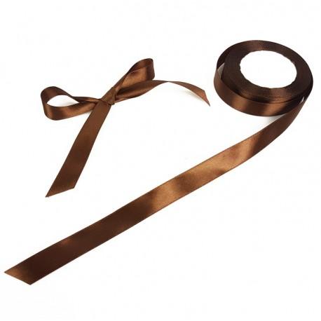 Bobine de ruban satiné en tissu de couleur marron chocolat - 7718