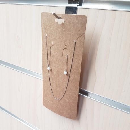 100 grands supports bijoux en carton couleur kraft naturel - 7713