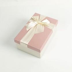 Boîte cadeaux bicolore écrue et rose clair 17x12x6.5cm - 7726p