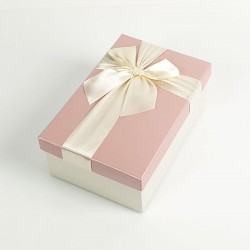 Boîte cadeaux de couleur écrue et rose clair 20x13.5x8cm - 7727m
