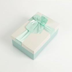 Boîte cadeaux bicolore bleu givré et écrue 17x12x6.5cm - 7729p