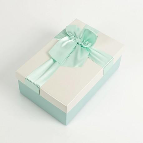 Boîte cadeaux de couleur bleu givré et écrue 20x13.5x8cm - 7730m