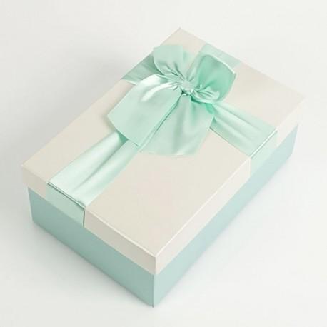 Boîte cadeaux bleu givré et écru avec noeud ruban 22x15x9cm - 7731g
