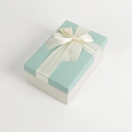 Boîte cadeaux bicolore écrue et bleu givré 17x12x6.5cm - 7732p