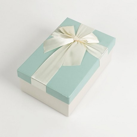 Boîte cadeaux de couleur écrue et bleu givré 20x13.5x8cm - 7733m