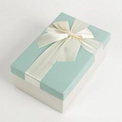 Boîte cadeaux écrue et bleu givré avec noeud ruban 22x15x9cm - 7734g
