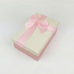 Boîte cadeaux bicolore rose tendre et écrue 17x12x6.5cm - 7723p
