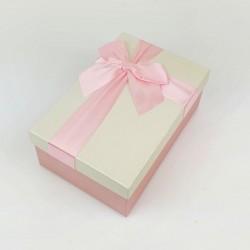 Boîte cadeaux de couleur rose tendre et écrue 20x13.5x8cm - 7724m