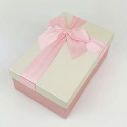 Boîte cadeaux rose tendre et écru avec noeud ruban 22x15x9cm - 7725g