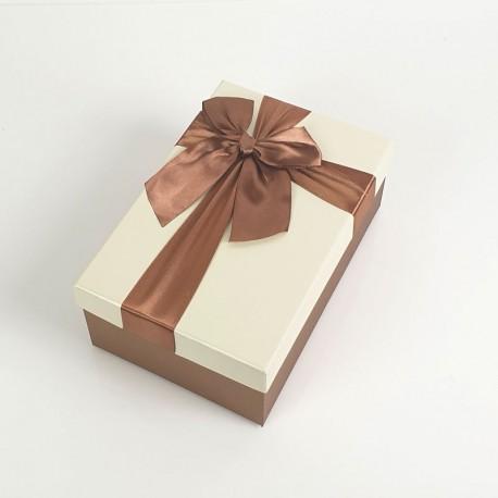 Boîte cadeaux bicolore marron noisette et écrue 17x12x6.5cm - 7735p