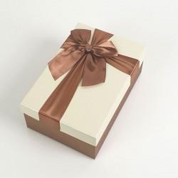 Boîte cadeaux de couleur marron noisette et écrue 20x13.5x8cm - 7736m