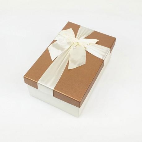 Boîte cadeaux bicolore écrue et noisette 17x12x6.5cm - 7738p