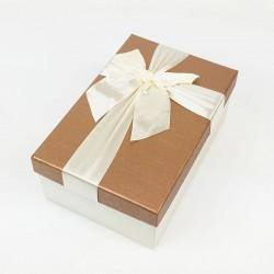Boîte cadeaux de couleur écrue et noisette 20x13.5x8cm - 7739m