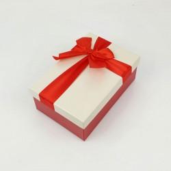 Boîte cadeaux bicolore rouge et écrue 17x12x6.5cm - 7741p