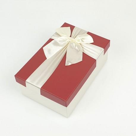 Boîte cadeaux bicolore écrue et rouge 17x12x6.5cm - 7744p