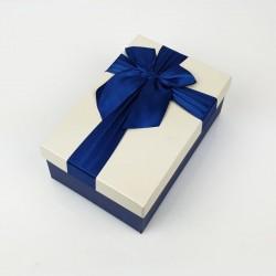 Boîte cadeaux de couleur bleu nuit et écrue 20x13.5x8cm - 7748m
