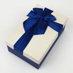 Boîte cadeaux bleu nuit et écru avec noeud ruban 22x15x9cm - 7749g