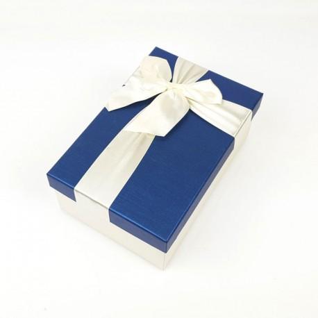 Boîte cadeaux bicolore écrue et bleu nuit 17x12x6.5cm - 7750p