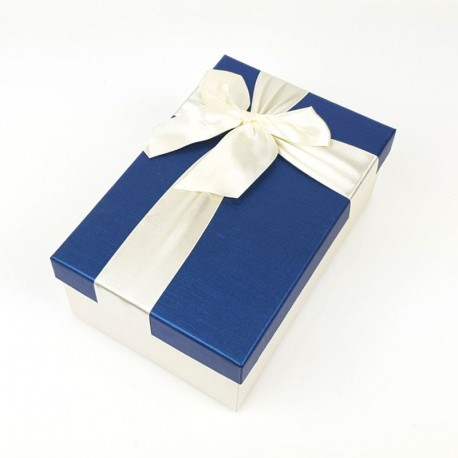 Boîte cadeaux de couleur écrue et bleu nuit 20x13.5x8cm - 7751m