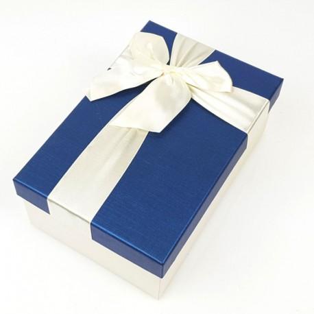 Boîte cadeaux écrue et bleu nuit avec noeud ruban 22x15x9cm - 7752g