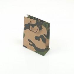 12 petits sacs en papier kraft militaire noir et vert 11.5x5.5x14.5cm - 7754