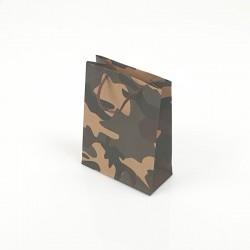12 petits sacs en papier kraft militaire noir et marron 11.5x5.5x14.5cm - 7755