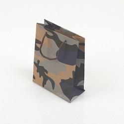 12 sacs cabas en papier kraft brun motif militaire bleu noir et gris 15x6x20cm - 7756