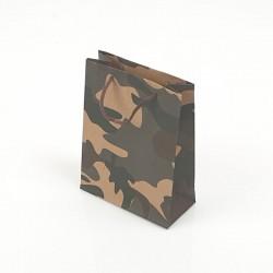 12 sacs cabas en papier kraft brun motif militaire noir vert et marron 15x6x20cm - 7758