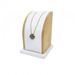 Petit présentoir rectangulaire en bois et simili cuir blanc pour chaîne - 7768