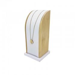 Présentoir rectangulaire en bois et simili cuir blanc pour chaîne - 7769