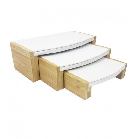 3 tables gigognes blanches en bois et simili cuir - 7770