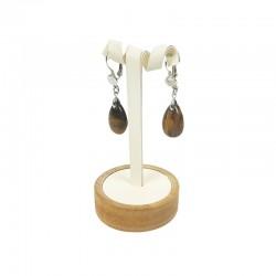 Petit arbre à boucles d'oreilles en bois et simili cuir blanc crème - 7776