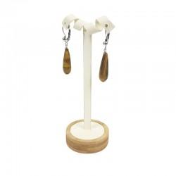 Grand arbre à boucles d'oreilles en bois et simili cuir blanc crème - 7777